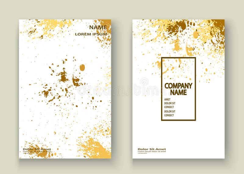 Gold explosion paint splatter artistic cover frame design. Decor. Ative xmas splash spray texture white golden background. Trendy template vector Cover Report royalty free illustration