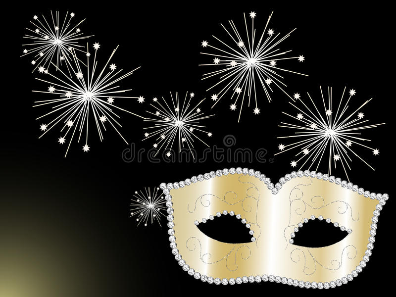 Gold face mask. Gold carnival face mask with diamonds and sparklers stock illustration