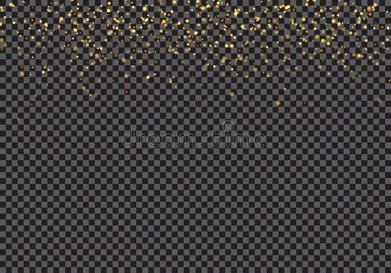 Gold falling glitter particles effect on transparent background stock illustration