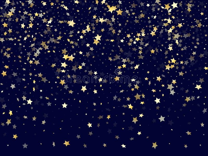 Gold falling star sparkle elements of glitter gradient vector background. stock photos