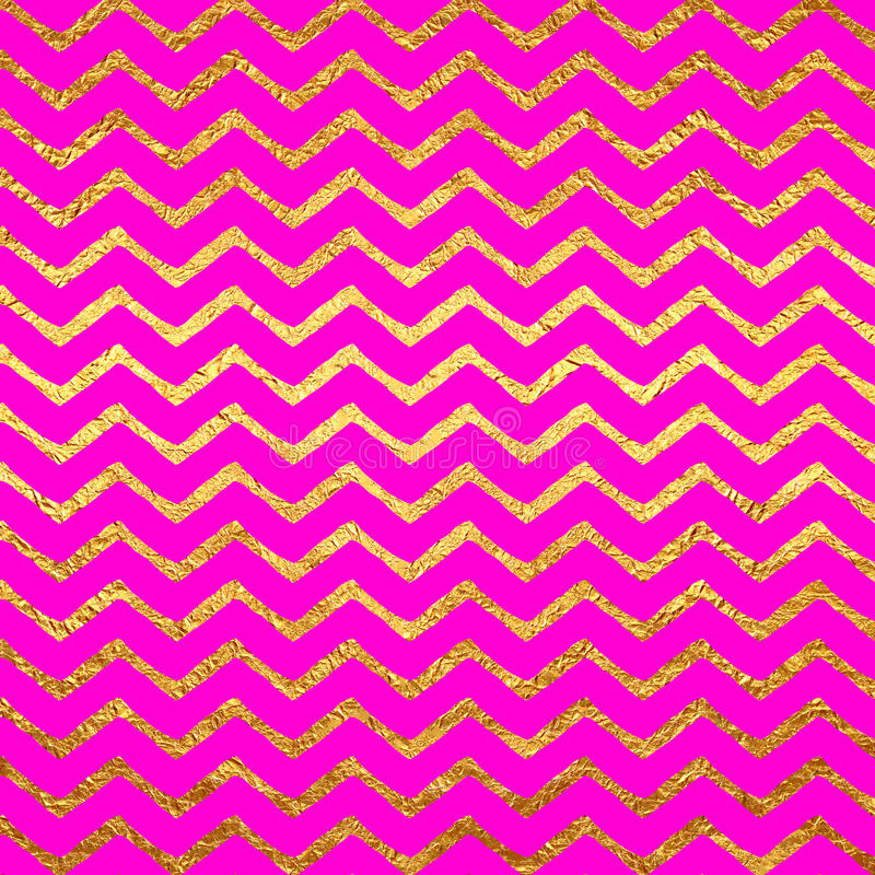 Gold Faux Foil Chevrons Metallic Hot Pink Magenta Background royalty free illustration