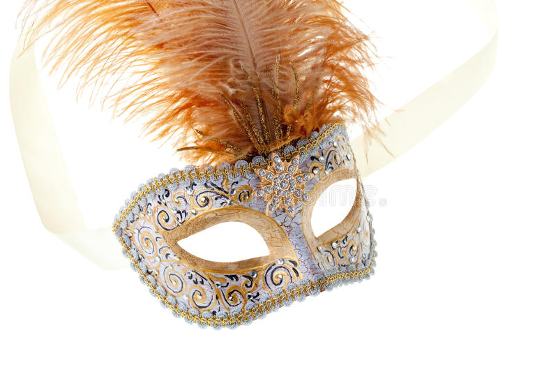 Gold Feathered Carnival Mask Royalty Free Stock Images