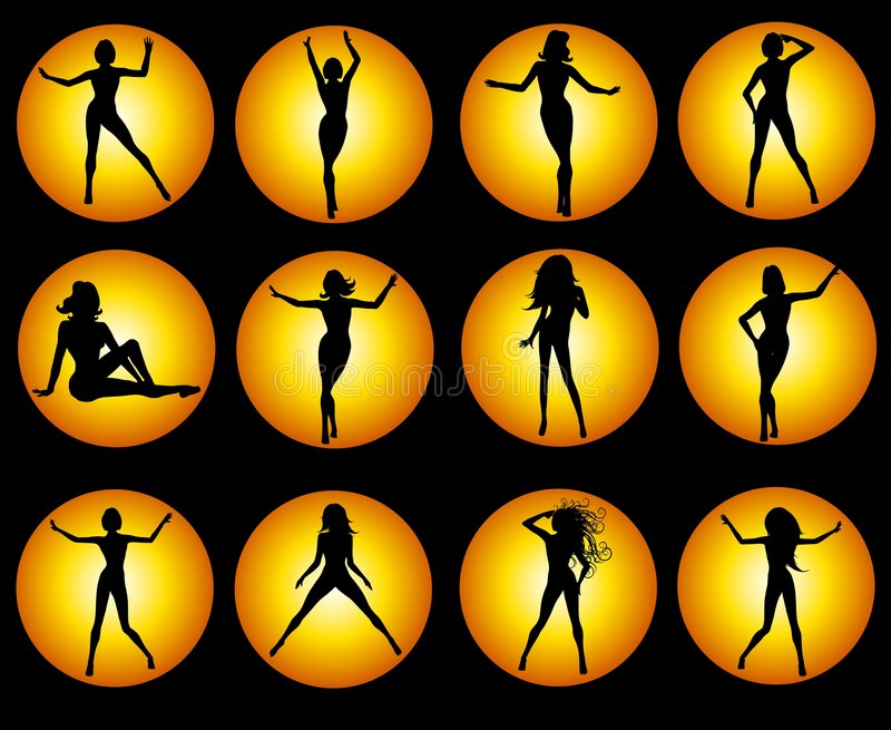 Gold Female Silhouette Icons on Black