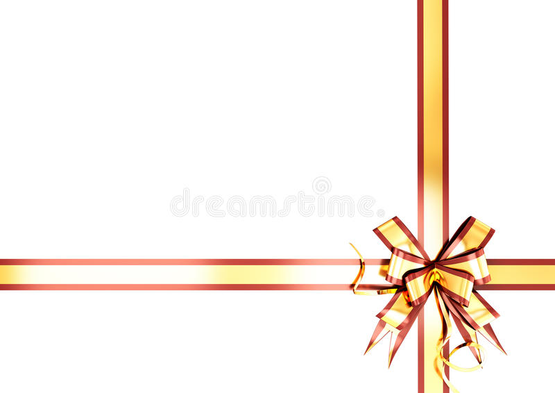 Gold festive ribbon with a red border. For your design royalty free illustration