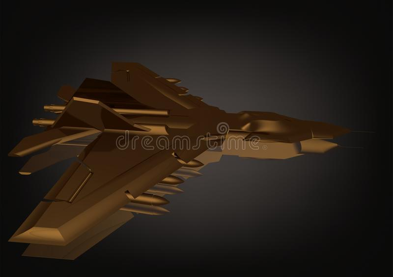Gold fighter on a black royalty free illustration