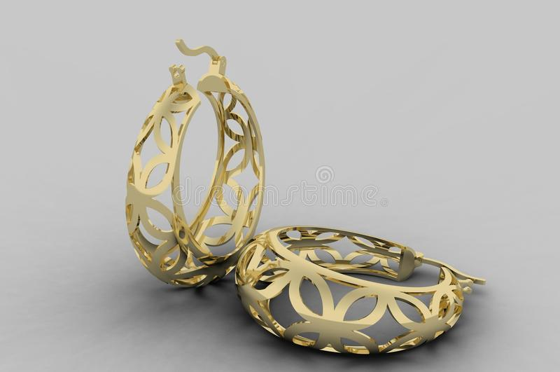 Gold filigree Earrings. 18k yellow gold filigree style made in 3D vector illustration