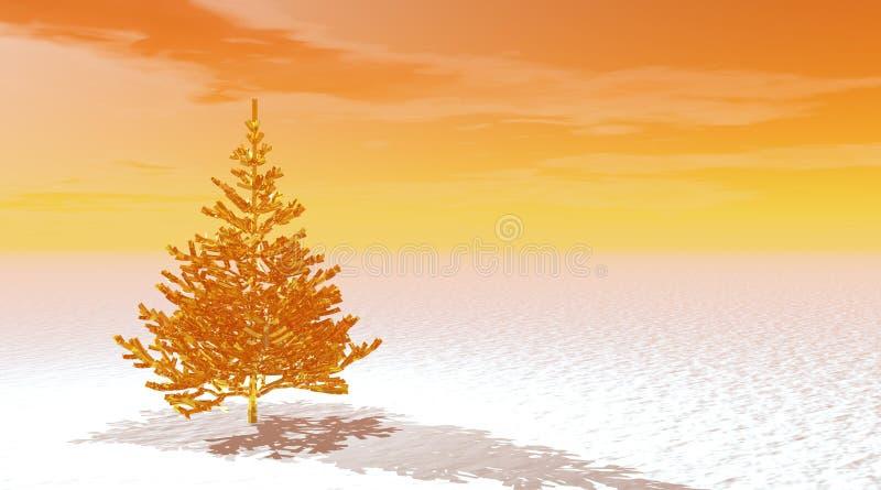 Gold fir tree stock illustration