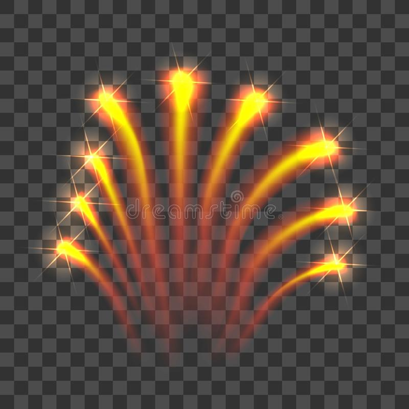 Gold firework rockets icon, realistic style. Gold firework rockets icon. Realistic illustration of firework vector icon for web design vector illustration