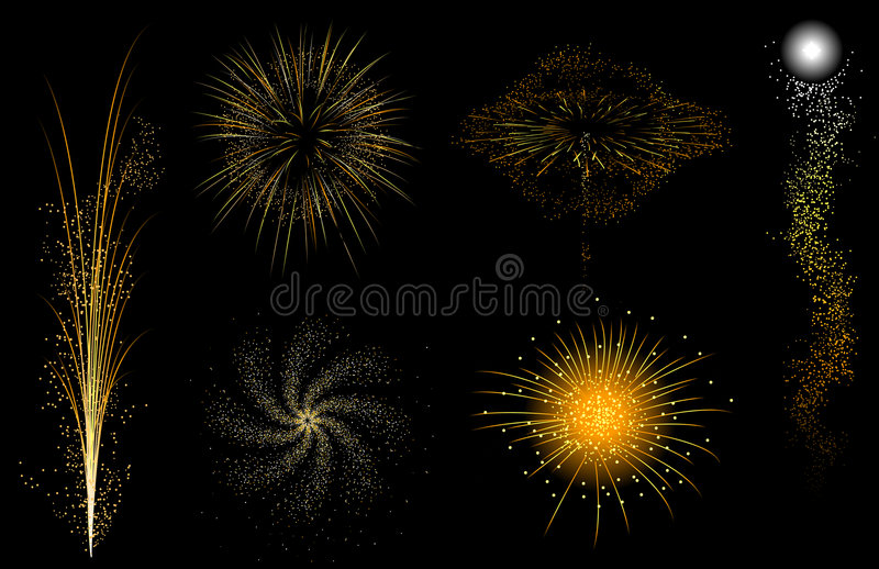 Gold fireworks vector illustration