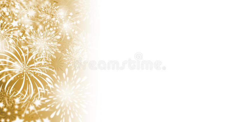 Gold fireworks background. With copy space vector illustration