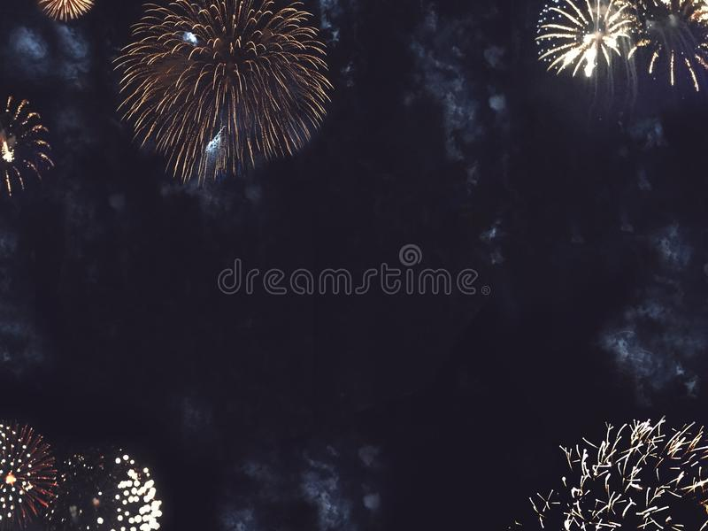 Gold Fireworks Border in Night Sky stock photography