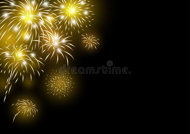Gold fireworks design on black background vector illustration