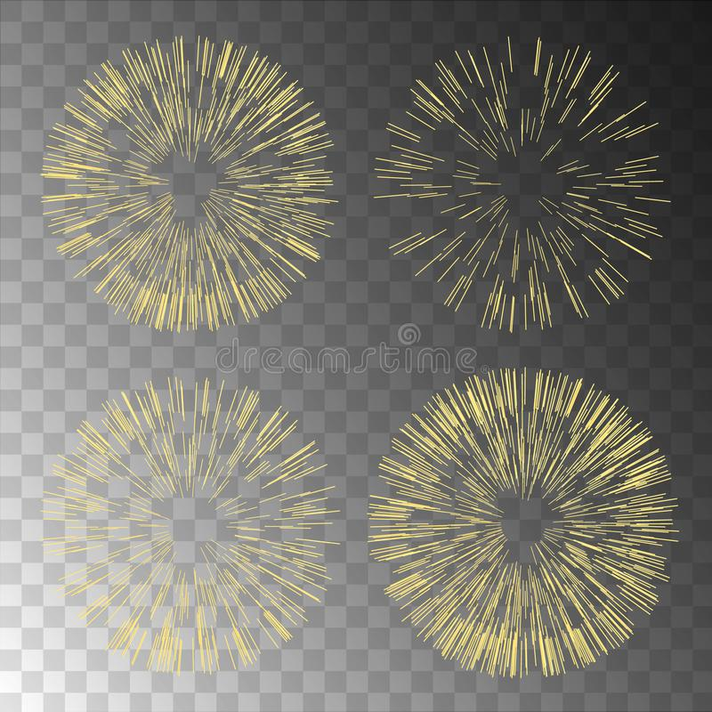 Gold fireworks on transparent background.Fireworks coll. Ection for design postcards, Christmas and New Year banner and cards. Vector illustration vector illustration
