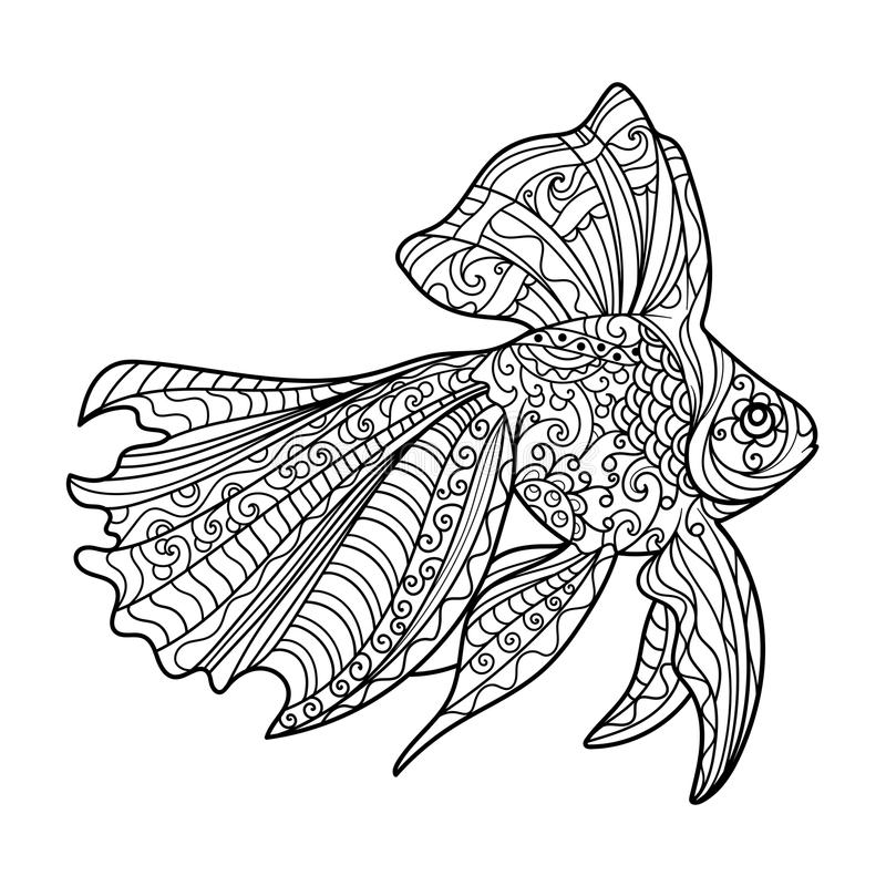 Download gold fish coloring book for adults vector stock vector illustration of black doodle