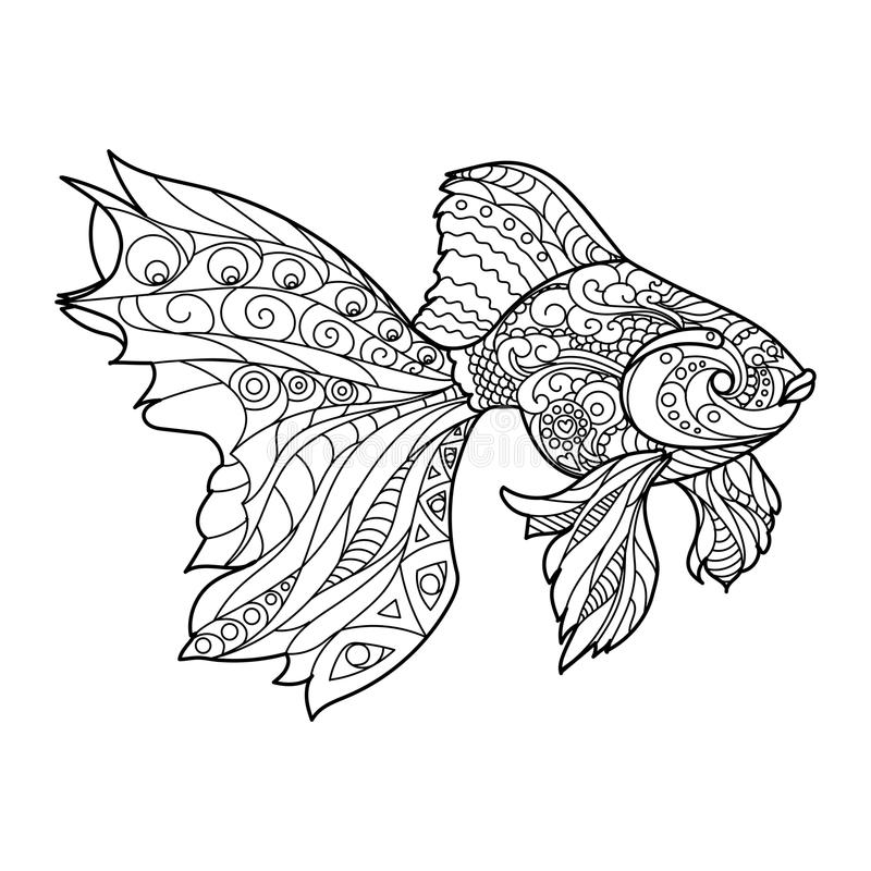 Gold Fish Coloring Book For Adults Vector Stock Vector ...