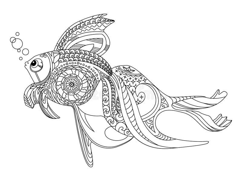 Volwassen Kleurplaat Paard Gold Fish Coloring Book For Adults Vector Stock Vector
