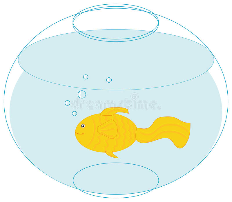Download Gold fish in a fishbowl stock vector. Illustration of drawing - 22840582