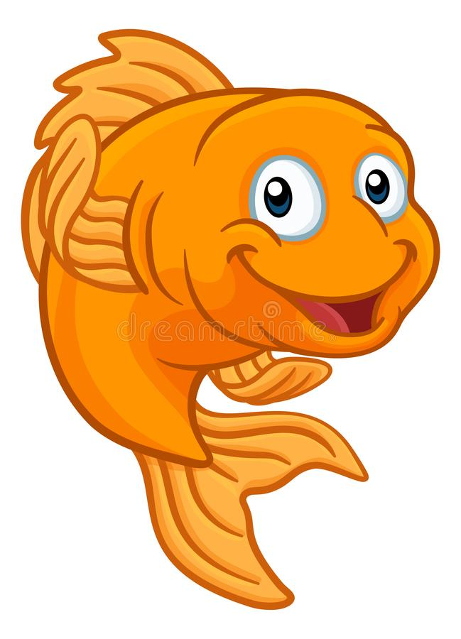 Gold Fish or Goldfish Cartoon Character stock illustration