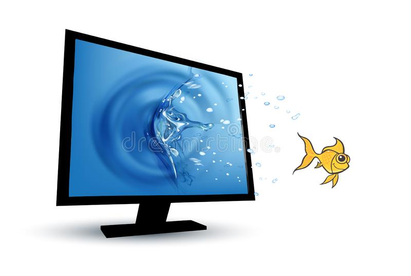 Gold fish jumping from computer monitor screen stock illustration