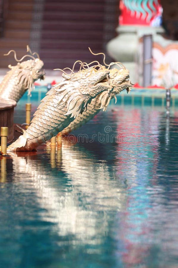 Gold fish statue of architecture in a Chinese temple. royalty free stock images