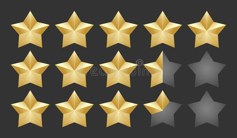 Gold five shape stars quality icon on a dark background. 5 gradient rating stars half and quarter filled. EPS 10 vector rank. Illustration vector illustration