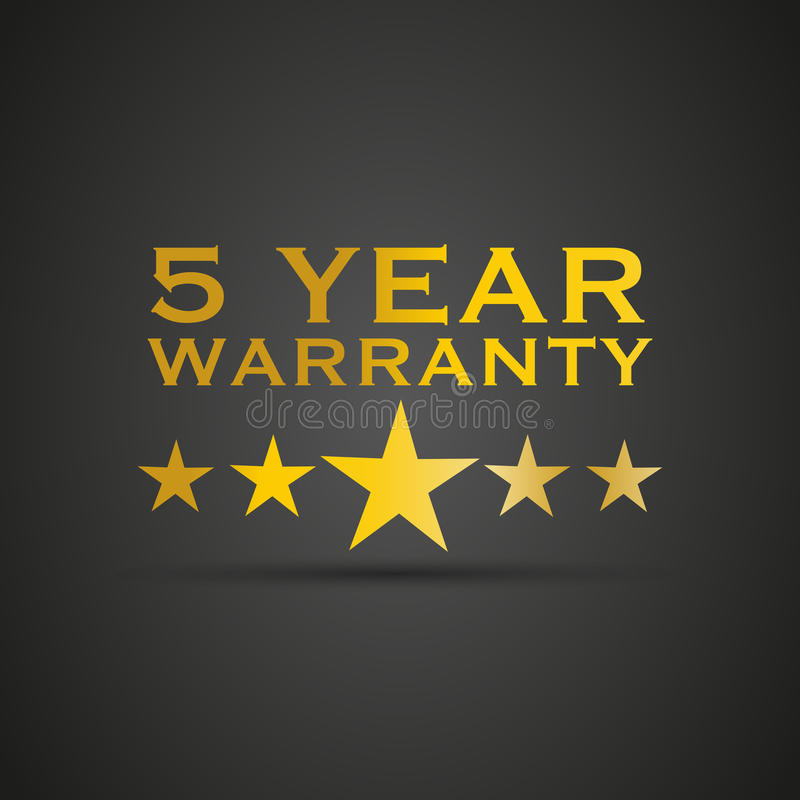 Gold five year warranty. Abstract background vector illustration