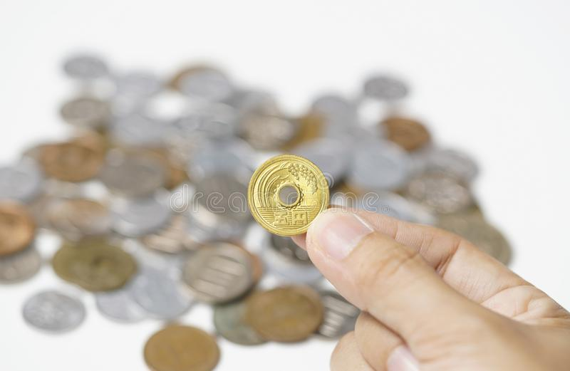 Five Yen Coin Japanese. Money and have meaning of Goodluck. royalty free stock photo