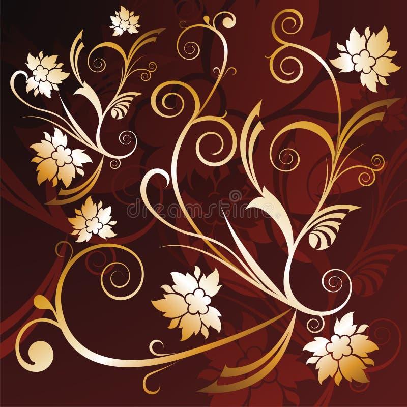 Gold floral background stock illustration
