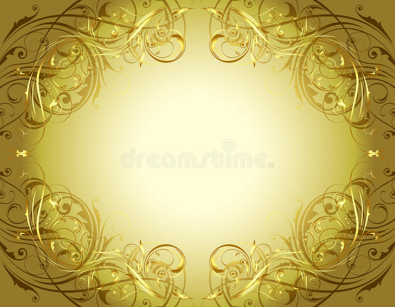Gold floral background frame stock illustration
