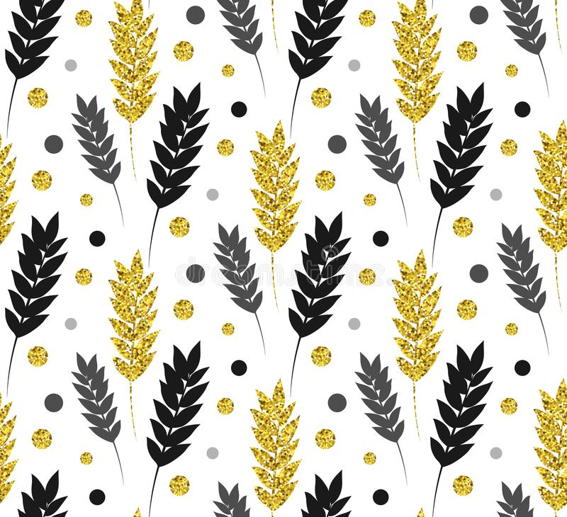 Gold floral background. Vector glitter seamless pattern with lea stock illustration