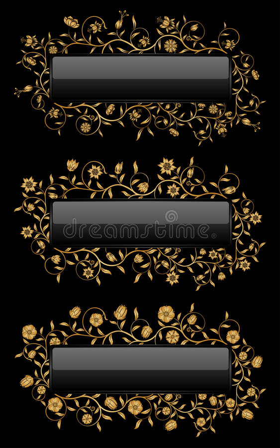 Download Gold floral banners stock vector. Image of plant, pattern - 11541538