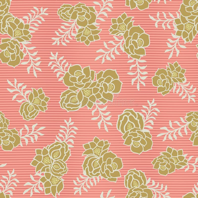 Gold floral bouquet on coral stripes seamless vector texture background stock illustration