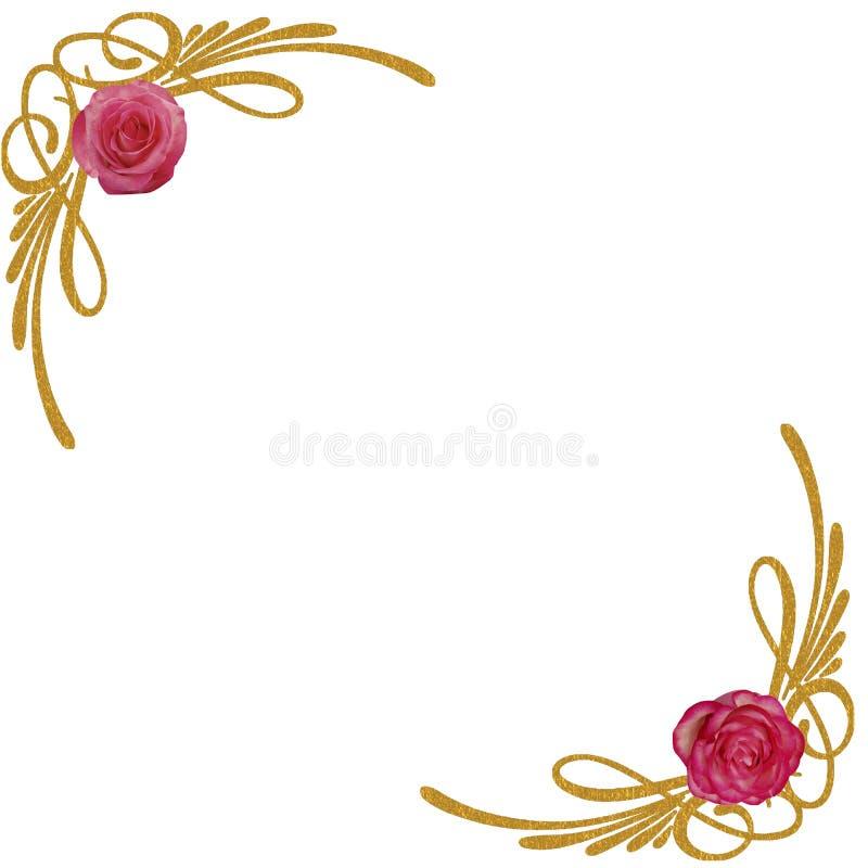 Download GOLD FLORAL CORNERS PINK ROSES Stock Illustration - Image: 83713466