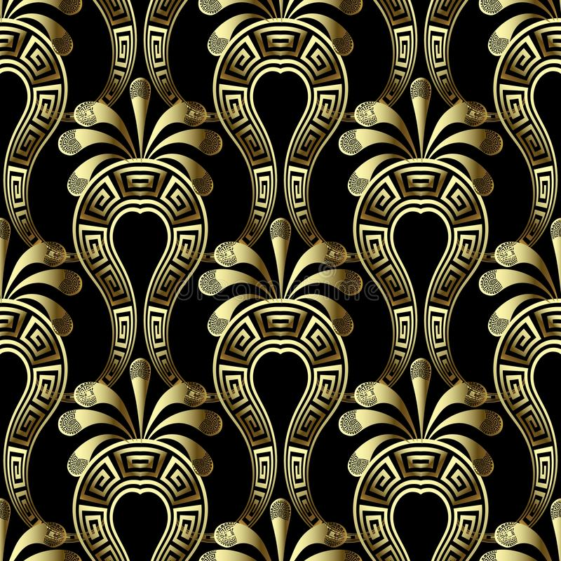 Gold floral 3d gree vector seamless pattern. Ethnic style arabesque background with Paisley flowers. Greek key meanders vintage. Ornament. Repeat ornamental stock illustration