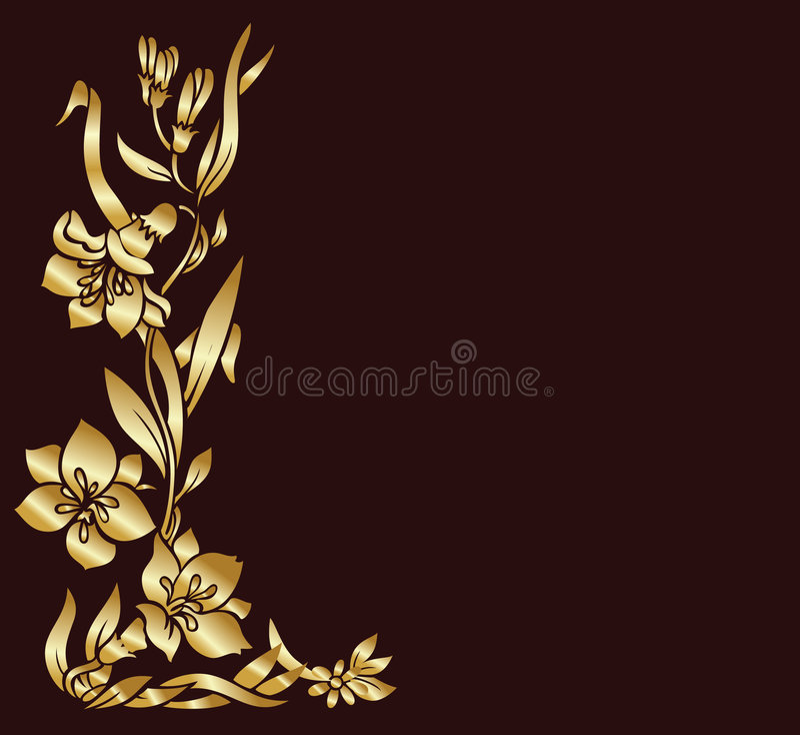 Gold floral decor vector illustration