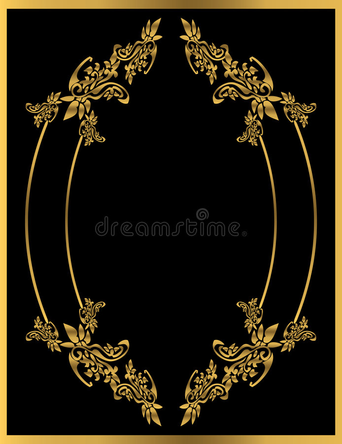 Download Gold floral frame 1 stock vector. Image of fashioned, oval - 8536850