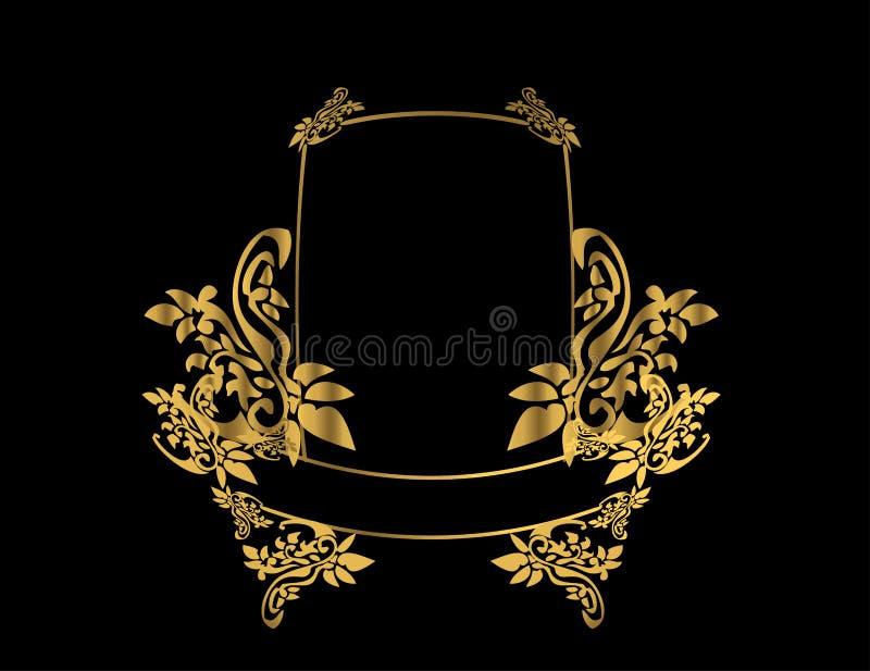 Gold floral frame 3 stock illustration