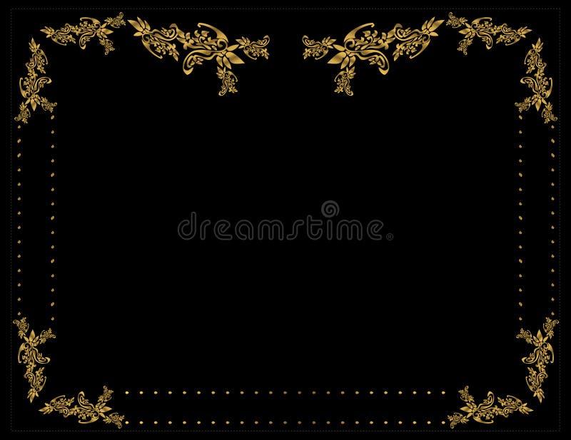 Gold floral frame 4 stock illustration