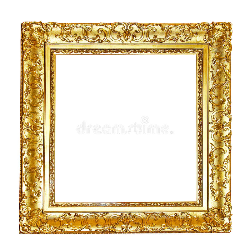 Gold floral frame. Floral frame in gold isolated included clipping path royalty free stock photos