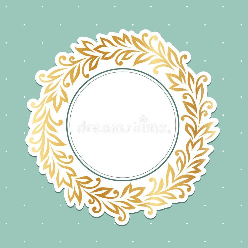 Gold floral frame stock illustration