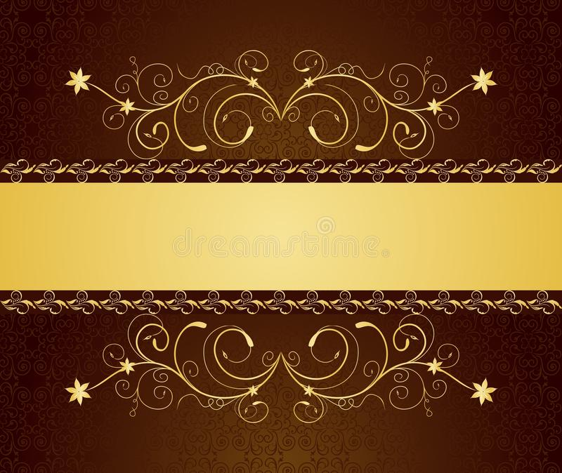 Gold floral greeting cards and invitation royalty free illustration