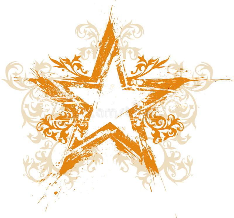 Free Gold Floral Grunge Star Royalty Free Stock Images - 2376919