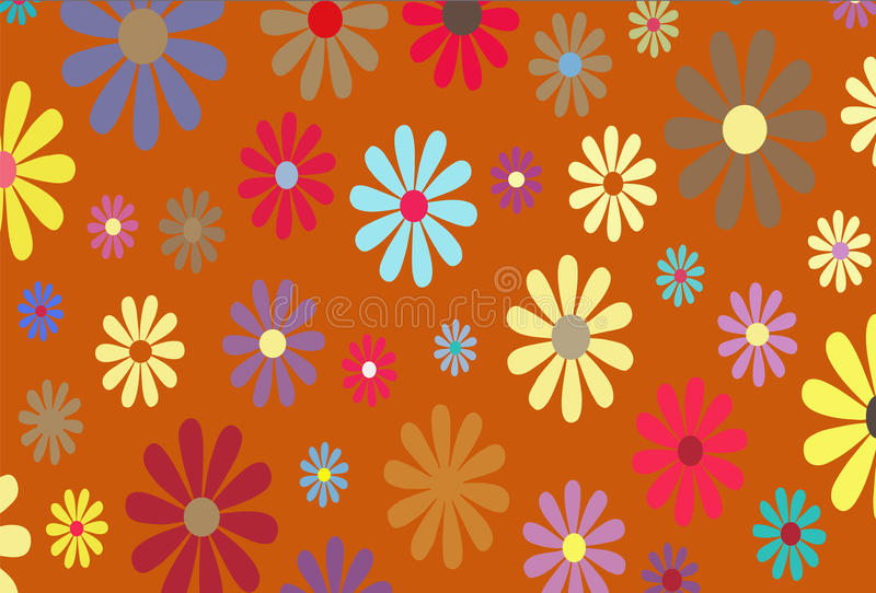 Gold Floral illustration. Floral Vector with a gold or autumn background stock illustration