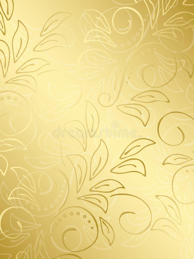 Gold floral vector background with gradient vector illustration