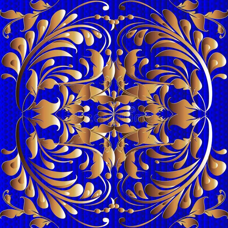 Gold floral vintage 3d vector seamless pattern. Textured ornamental blue ornate background. Decorative patterned design. Hand stock illustration