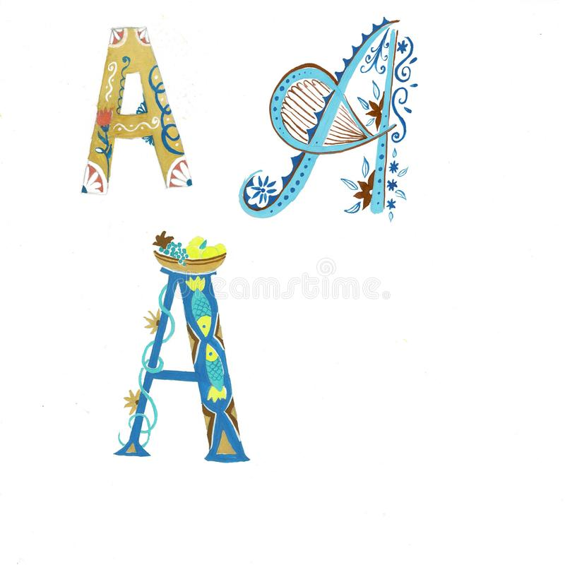 Gold floral watercolor alphabet art. Combination of gold A letter and flower wreath to create delicate designs for vector illustration