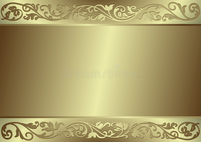 Gold flourishes background. A gold background with flourishes royalty free illustration
