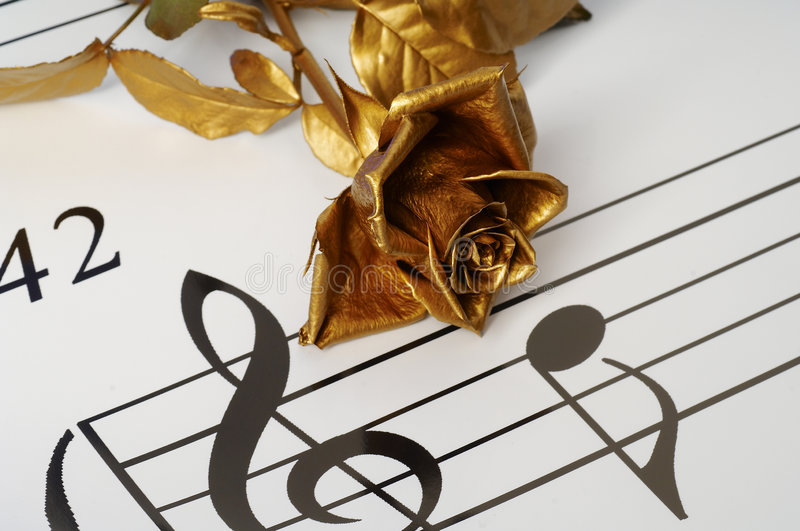 The gold flover and note stock image