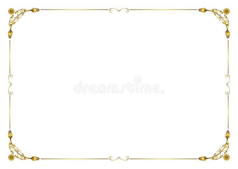 Gold Flower Frame border blank ready for text stock image
