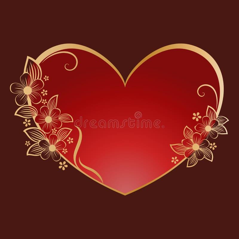 Gold flower heart shaped frame stock illustration
